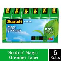 Scotch Magic Greener Tape, Made with Recycled or Plant Based Material, Invisible, Cuts Cleanly, Engineered for Office and Home Use, 3/4 x 900 Inches, Boxed, 6 Rolls (812-6P)
