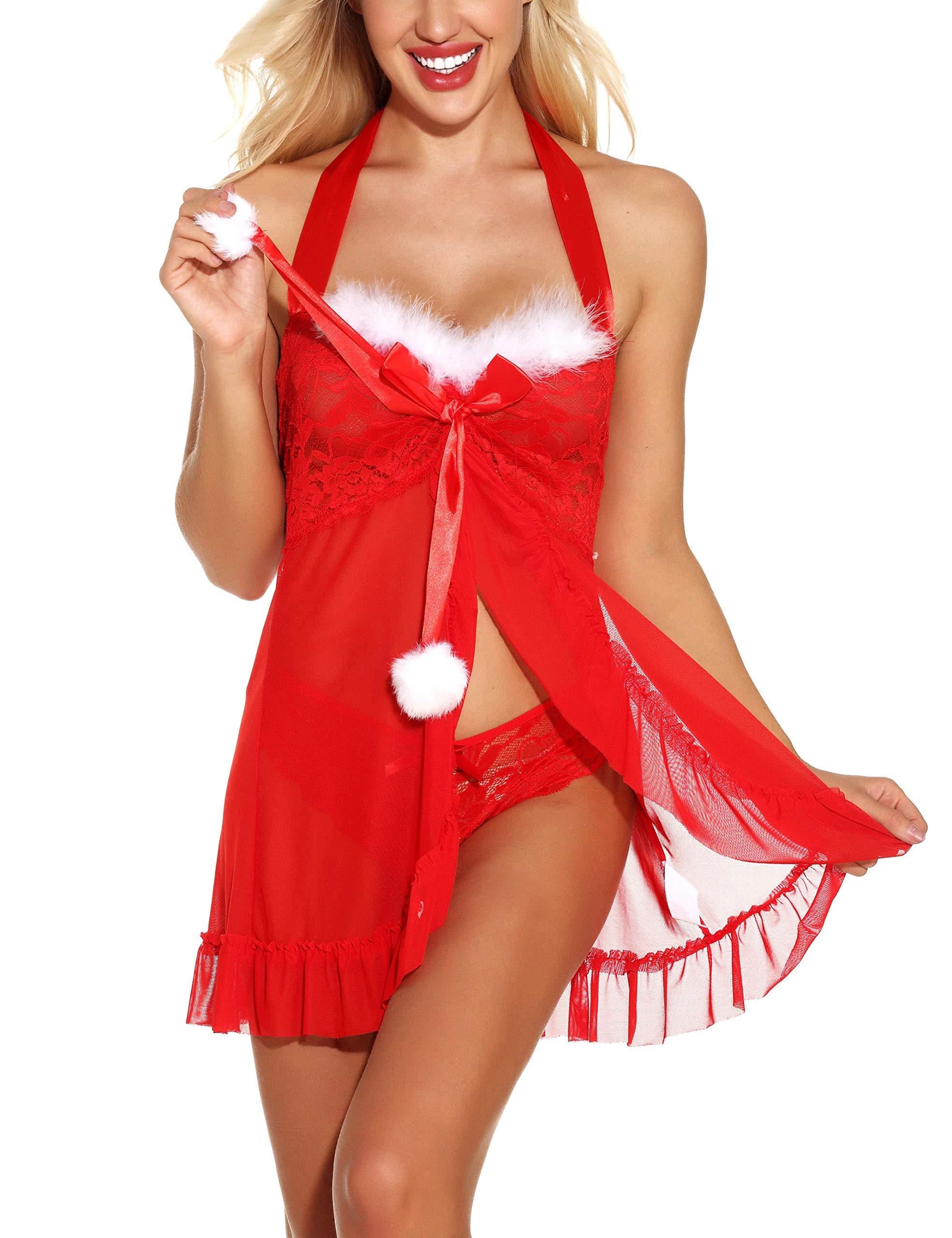 Ababoon Women Christmas Lingerie Dress Nightwear Sexy Sleepwear Backless Halter Lace Babydoll