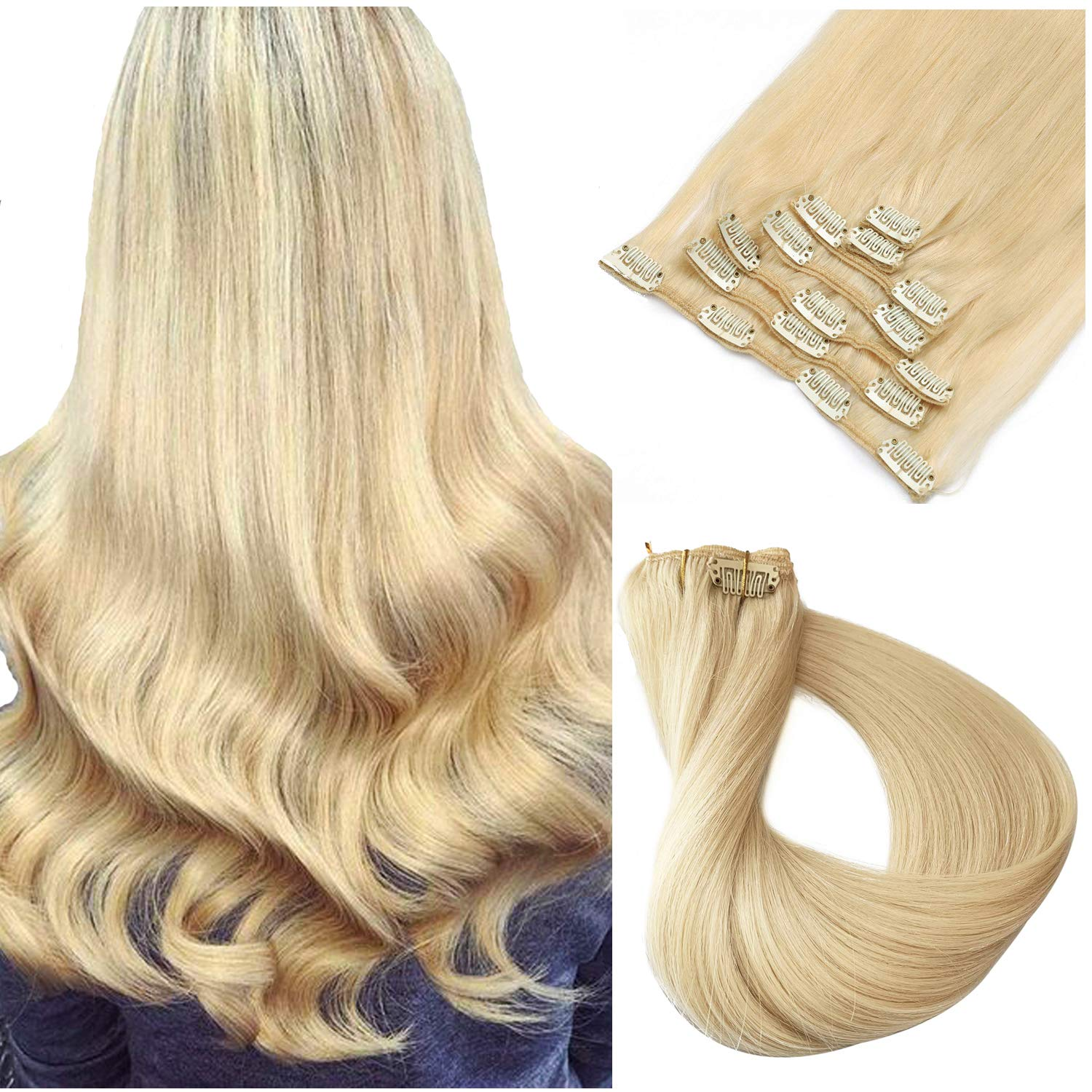 613 Blonde Hair Extensions Clip in Human Hair for Black Women Real Remy Hair Extensions Clip on 100% Brazilian Virgin Hair Extensions Double Weft Full Head Even End Silky Straight Glueless 20 Inch