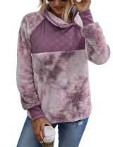Romanstii Women Fleece Pullover Sweatshirt Oblique Button Neck Long Sleeve Warm Casual Coat Outwear