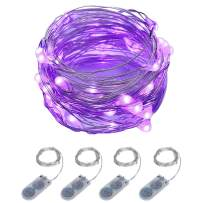 ITART Purple LED String Lights Battery Powered Mini Fairy Lights 20 LED 6Ft Thin Wire Rope Lights for DIY Craft Halloween Wedding Party Centerpiece Decoration