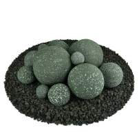 Ceramic Fire Balls | Mixed Set of 13 | Modern Accessory for Indoor and Outdoor Fire Pits or Fireplaces – Brushed Concrete Look | Slate Green, Speckled
