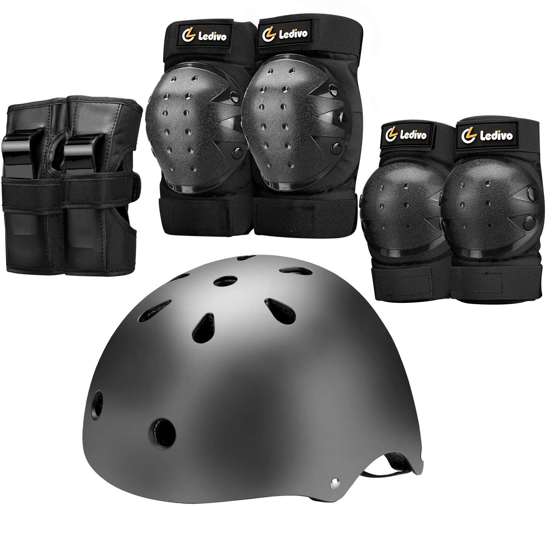 LEDIVO Kids Bike Helmet, Youth Toddler Helmets Adjustable for 3-14 Years Boys Girls, Knee Pads Elbow Pads Wrist Guards Kids Protective Gear Set for Skateboard, Bike, Roller Skating, Cycling, Scooter