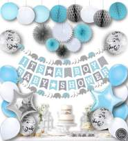 RainMeadow Premium Baby Shower Decorations for Boys Kit   It's A BOY   Garland Bunting Banner, Paper Lanterns, Honeycomb Balls   Tissue Paper Fans   Blue Grey White   Elephant Style