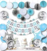 RainMeadow Premium Baby Shower Decorations for Boys Kit | It's A BOY | Garland Bunting Banner, Paper Lanterns, Honeycomb Balls | Tissue Paper Fans | Blue Grey White | Elephant Style