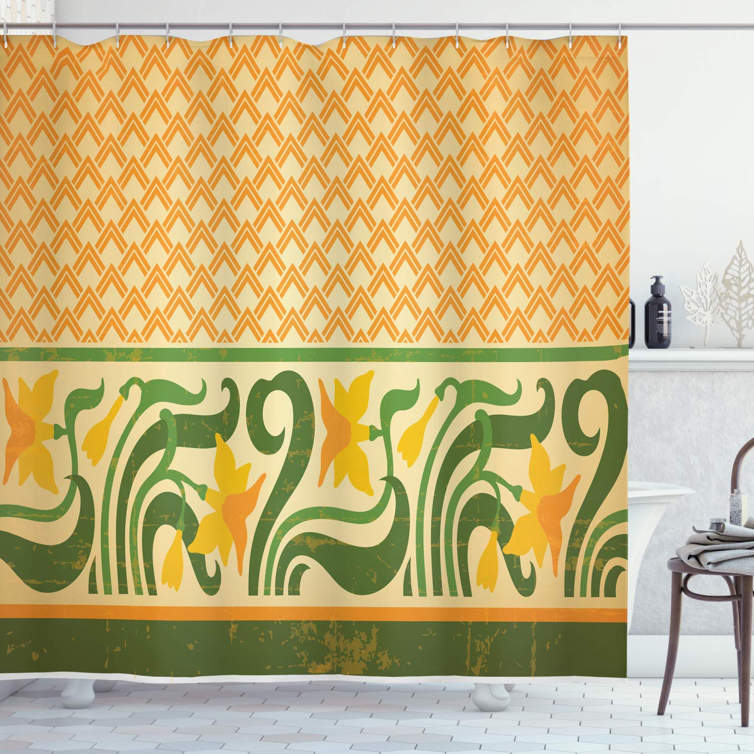 """Ambesonne Art Nouveau Shower Curtain, Fresco Ornament Geometric Pattern with Exotic Daffodil Floral Border, Cloth Fabric Bathroom Decor Set with Hooks, 70"""" Long, Yellow Green"""