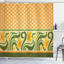 "Ambesonne Art Nouveau Shower Curtain, Fresco Ornament Geometric Pattern with Exotic Daffodil Floral Border, Cloth Fabric Bathroom Decor Set with Hooks, 70"" Long, Yellow Green"