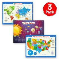 3 Pack - Solar System Poster, World Map Poster for Kids Wall and United States Map for Kids, Perfect Maps for Toddlers, Children, Kindergarten, Preschool, Playroom or Classroom, Laminated, 24x18