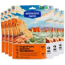 Backpacker's Pantry Stroganoff Sauce, Egg Noodles, Beef & Mushrooms, 2 Servings Per Pouch (6 Count), Freeze Dried Food, 16 Grams of Protein
