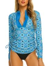 Sheshow Women's Rash Guard Sun Protection UV Surf Tops Long Sleeve Swim Shirt Zipper Adjustable