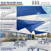 Windscreen4less 11' x 11' x 11' Sun Shade Sail Canopy in Ice Blue with Commercial Grade (3 Year Warranty) Customized Size Included Free Pad Eyes