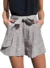 Elapsy Womens Casual Plain Tie Drawstring Elastic Waist Ruffled Trim Summer Shorts S-2XL