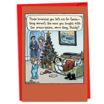 12 Boxed 'Prescription Brownies' Christmas Cards with Envelopes 4.63 x 6.75 inch, Happy Holidays with Hilarious Stoned Santa Claus Cartoon, Pot Brownies and Christmas C4331XSG-B12