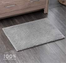 "Welhome 100% Microfiber Drylon Non Slip Bath Rug - Latex Backing - Ultra Absorbent - Quick Dry - Soft - Durable - Hotel Spa Bathroom Collection - 17""x 24"" - Gray"