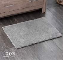 "Welhome 100% Microfiber Drylon Non Slip Bath Rug - Latex Backing - Ultra Absorbent - Quick Dry - Soft - Durable - Hotel Spa Bathroom Collection -17""x 24"" -Gray"