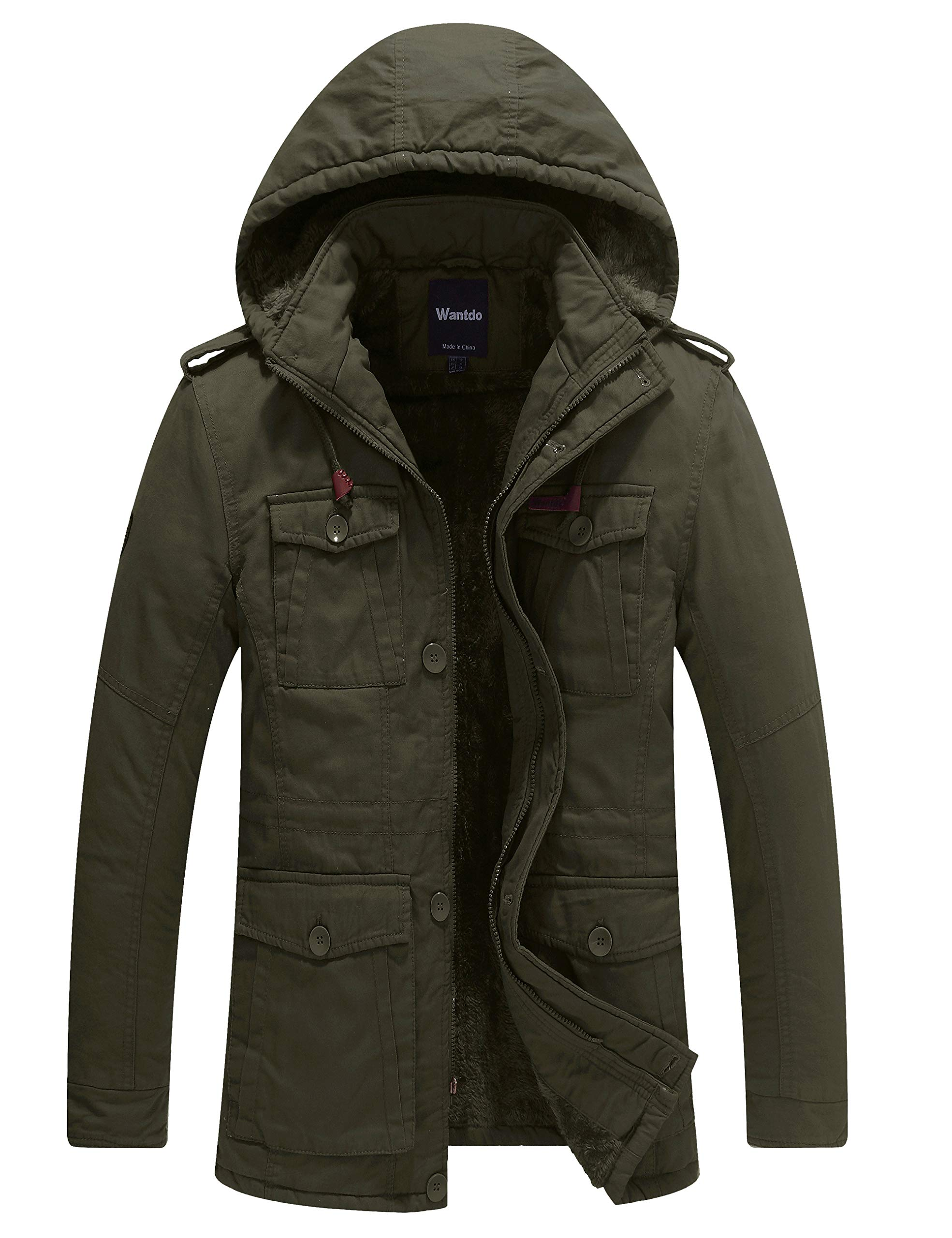 Wantdo Mens Packable Down Jacket Lightweight Winter Coat with Removable Hood