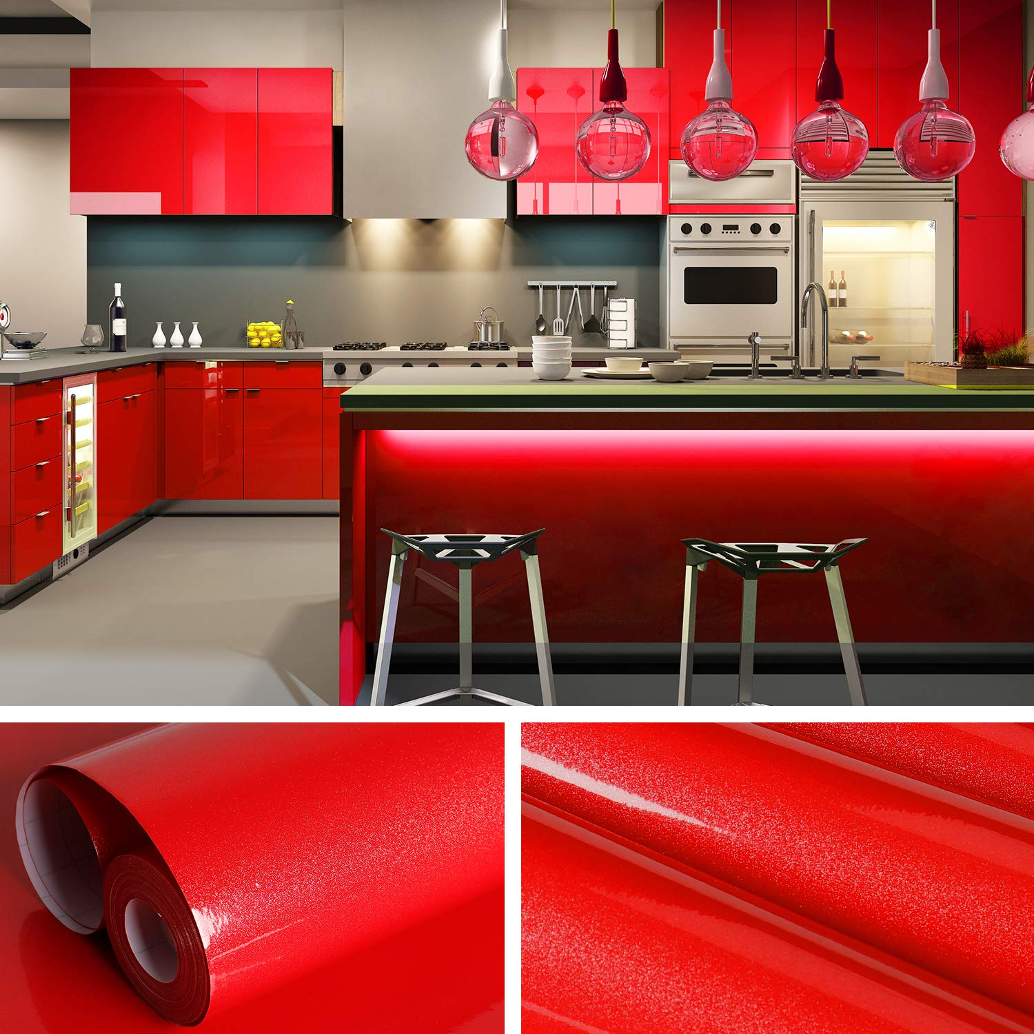 VEELIKE 15.74 × 118.11inches Red Wallpaper Peel and Stick Removable Waterproof Vinyl Self Adhesive Contact Paper for Bathroom Bedroom Living Room Home Decor Furniture Renovation