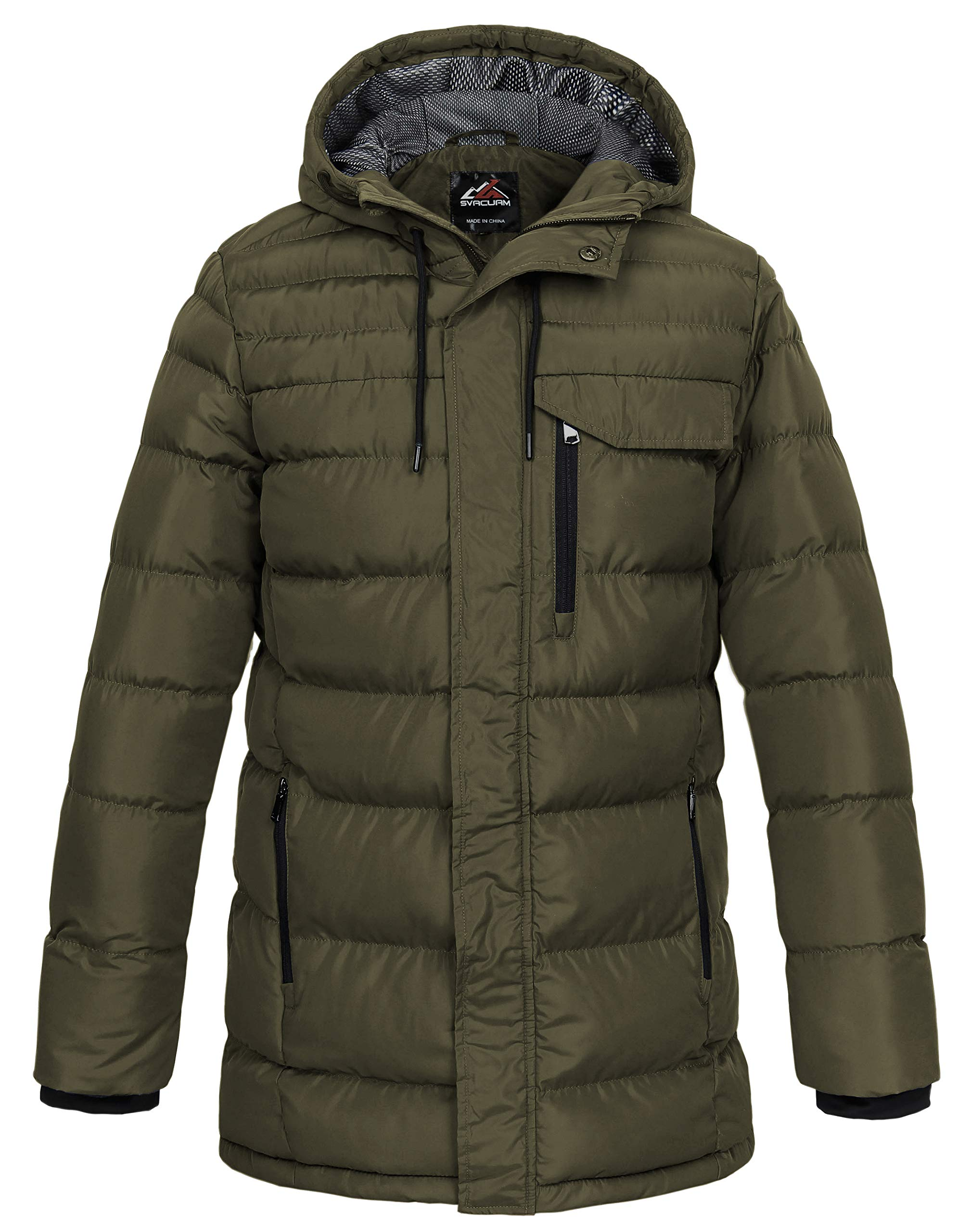 svacuam Men's Long Windproof Thickened Quilted Winter Hooded Puffer Jacket