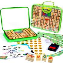 Art with smile Wooden Stamp Set for Kids with Alphabet Stamps and Carry Case – Letters, Numbers, Emojis, 3-Color Washable Ink Pad, Activity Book, More – ABC 123 Stamps for Kids and Teachers