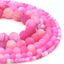 "Oameusa 8mm Rose Red Weathered Beads Round Matt Beads Gemstone Beads Loose Beads Agate Beads for Jewelry Making 15"" 1 Strand per Bag-Wholesale"