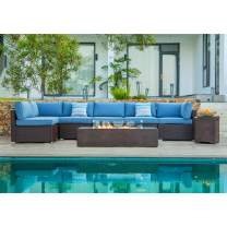 """COSIEST 8 Piece Propane Fire Pit Outdoor Wicker Sectional Sofa, Chocolate Brown Patio Furniture Set w 56""""X28"""" Rectangle Bronze Fire Table (60,000 BTU), Tank Cover and Wind Glass for Garden,Yard"""