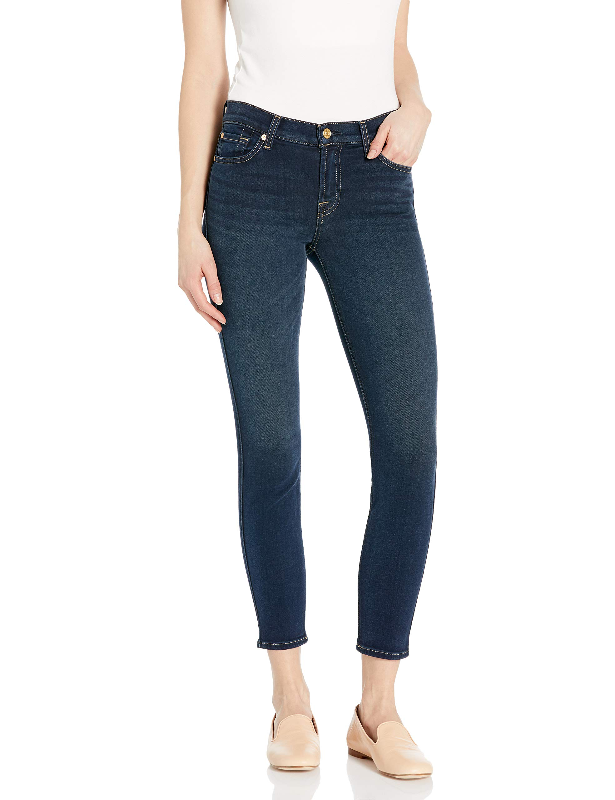 7 For All Mankind Womens Mid Rise Skinny Fit Ankle Jeans