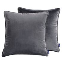 "Cieltown Solid Velvet Throw Pillow Covers, Square Throw Pillow Cushion Cover, 2-Pack, 18"" x 18"", Super Soft and Cozy (Grey)"