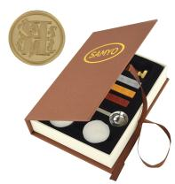 Samyo Wax Seal Stamp Kit Retro Creative Sealing Wax Stamp Maker Gift Box Set Brass Color Head with Vintage Classic Alphabet Initial Letter (R)