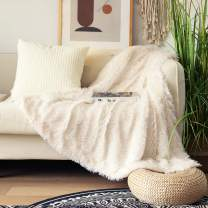 """Decorative Extra Soft Faux Fur Throw Blanket 50"""" x 60"""",Solid Reversible Fuzzy Lightweight Long Hair Shaggy Blanket,Fluffy Cozy Plush Comfy Microfiber Fleece Blankets for Couch Sofa Bedroom,Cream White"""