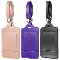Luggage Tags, 3 Pack Teskyer Premium PU Leahter Luggage Tags Privacy Protection Travel Bag Labels Suitcase Tags-Black+Purple+Rose gold