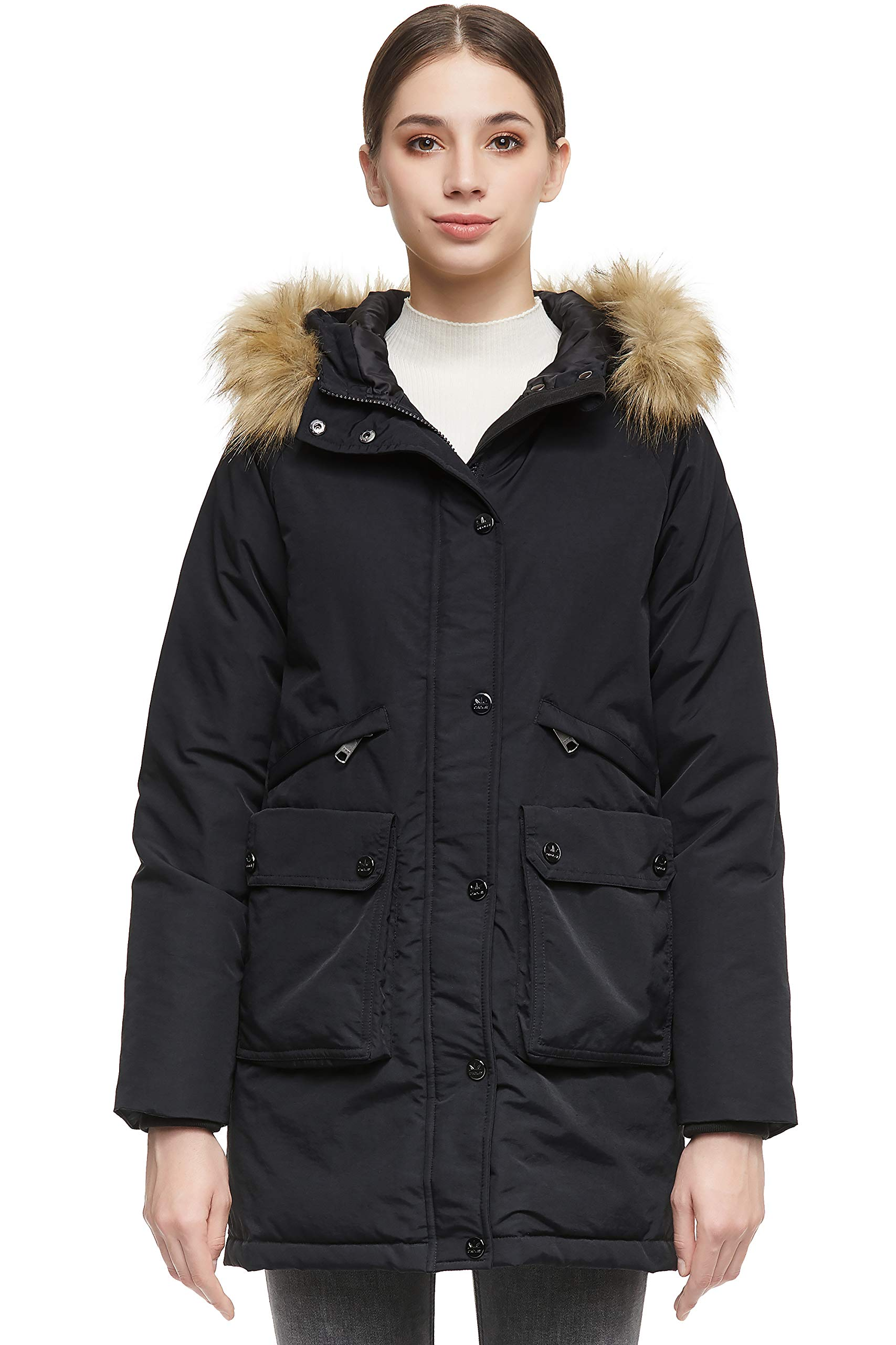 Orolay Women Warm Down Jacket with Pockets Removable Fur Coat