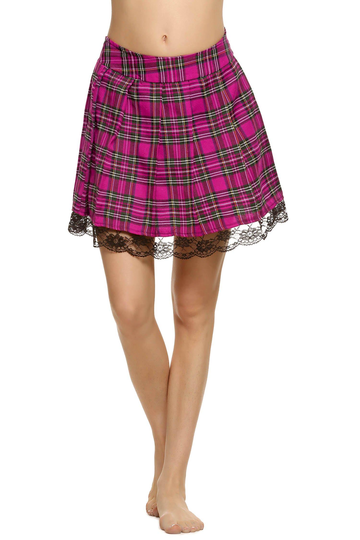 ELOVER Women's Vintage A-line Skirt Mini Plaid Skirt Printed Pleated Flared Midi Skirts