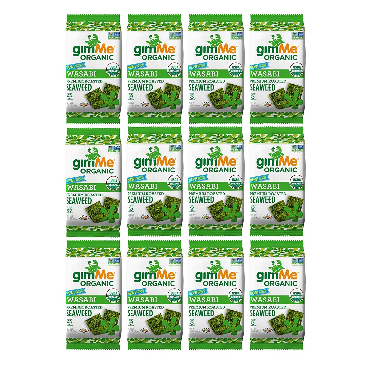 gimMe Organic Roasted Seaweed - Wasabi - 12 Count Sharing Size - Keto, Vegan, Gluten Free - Great Source of Iodine and Omega 3's - Healthy On-The-Go Snack for Kids & Adults