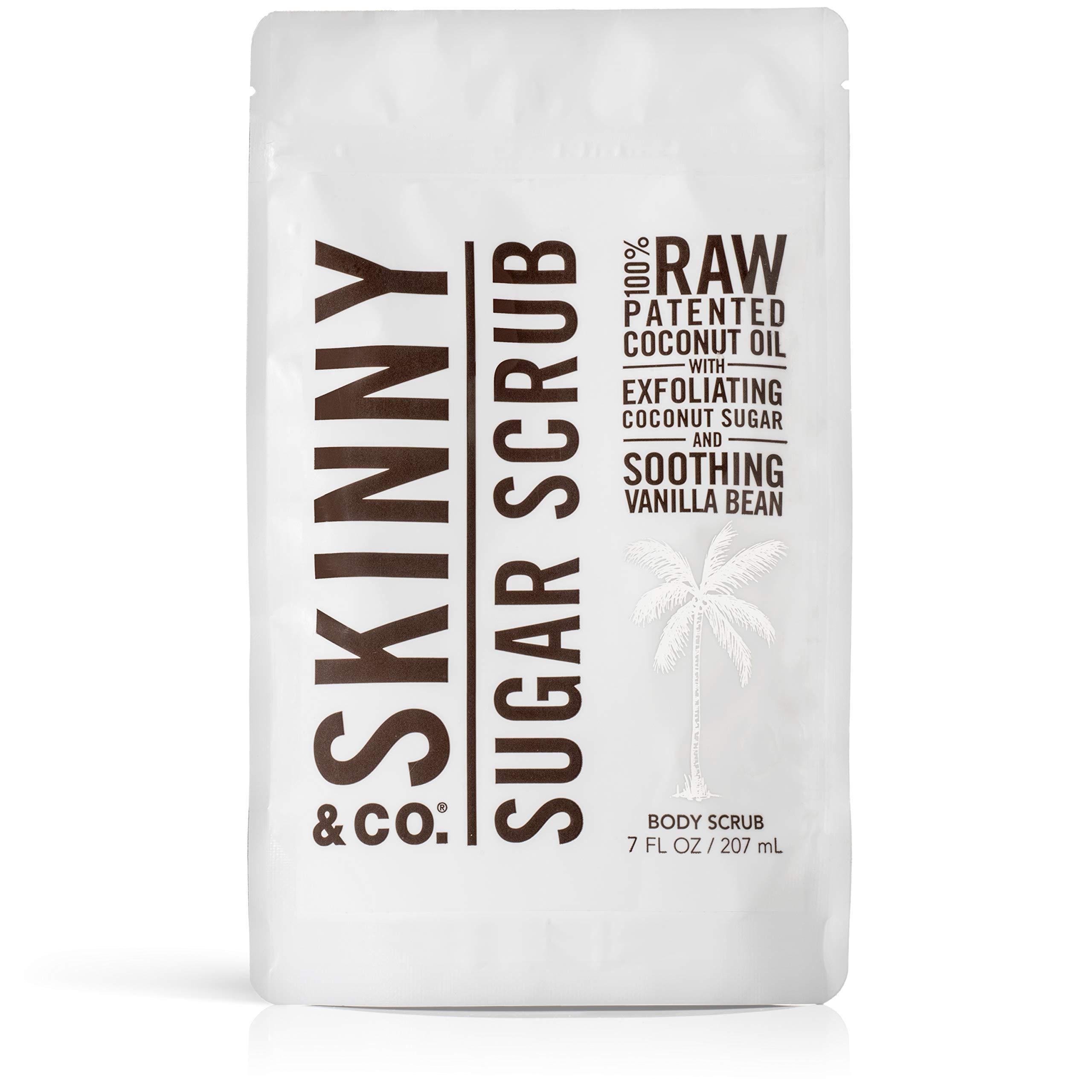 SKINNY & CO. Vanilla Sugar Body Scrub- 100% Raw All Natural Exfoliant Made with Coconut Oil, Coconut Sugar, and Vanilla, Gentle, Moisturizing, Detoxifying, Vitamin Rich, 7 oz.