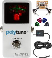 TC Electronic PolyTune 3 Polyphonic Tuner Built-In Bonafide Buffer Bundle with Blucoil Slim 9V 670ma Power Supply AC Adapter, 2-Pack of Pedal Patch Cables, and 4-Pack of Celluloid Guitar Picks