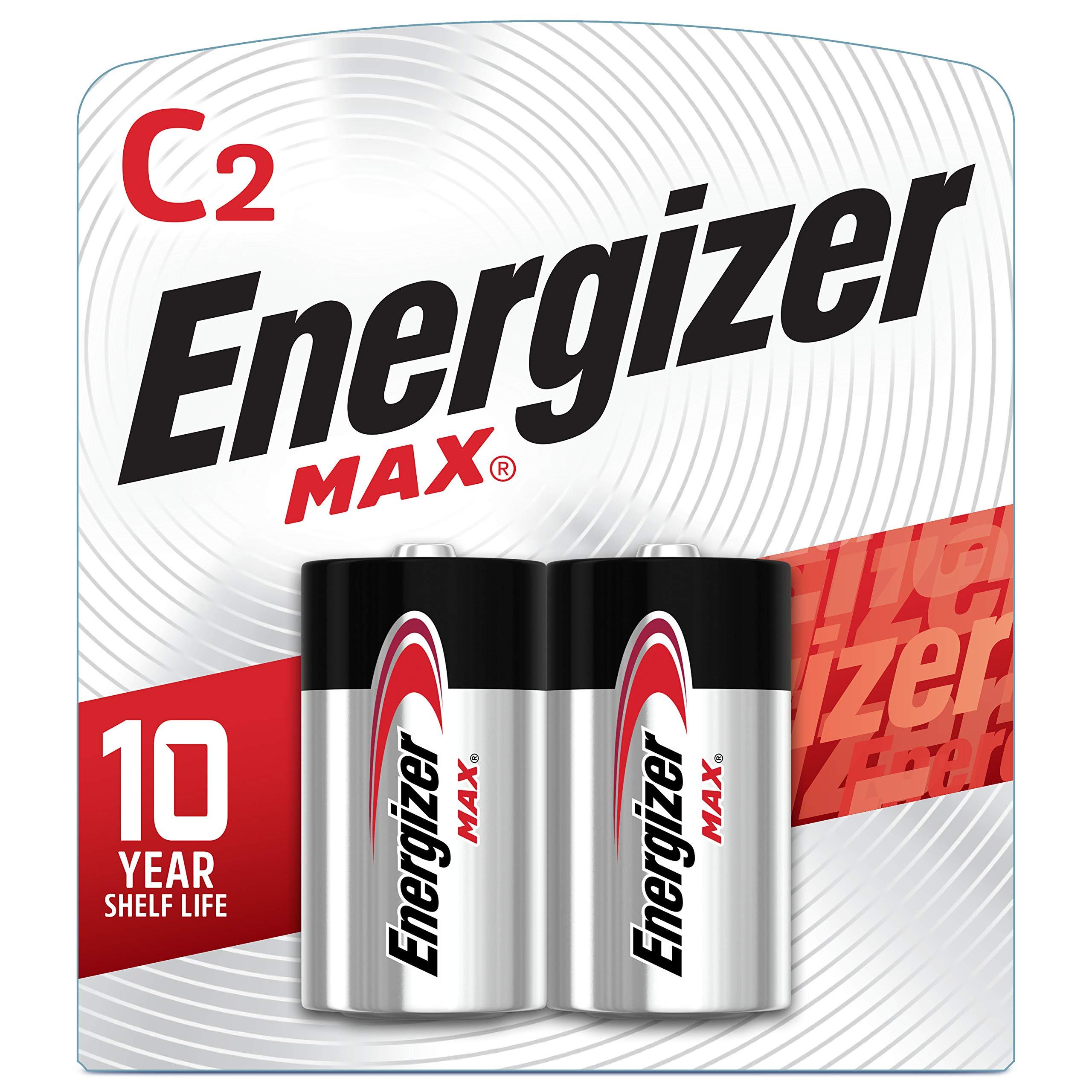 Energizer Max C Batteries, Premium Alkaline C Cell Batteries (2 Battery Count)