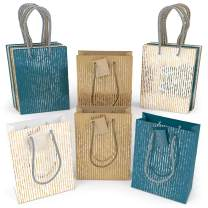 """ARTEZA Gift Bags 9.5""""x7""""x3.4"""", Set of 15pcs (3 Mixed Designs - 1 Kraft and 2 Colored, 5 pcs Each Design), Perfect for Any Holiday Occasion, Birthday Parties, Wedding Presents, and More!"""