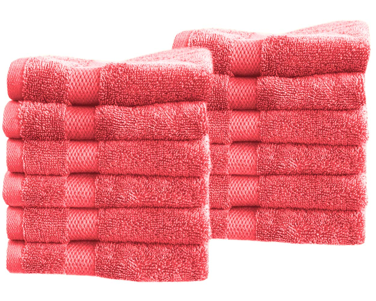 """Cotton & Calm Exquisitely Fluffy Washcloths/Face Cloths Towel Set (12 Pack, 13"""" x 13""""), Premium Coral Washcloths - Super Soft, Thick, and Absorbent for Face, Hand, Spa & Gym"""
