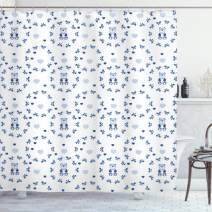 "Ambesonne Nursery Shower Curtain, Kids Baby Nursery Design Ribbons Teddy Bears Children Hearts Art, Cloth Fabric Bathroom Decor Set with Hooks, 75"" Long, Purple Grey"