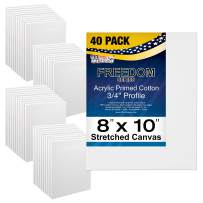 """U.S. Art Supply 8 x 10 inch Stretched Canvas Super Value 40-Pack - Professional White Blank 3/4"""" Profile Heavy-Weight Gesso Acid Free Bulk Pack - Painting, Acrylic Pouring, Oil Paint"""