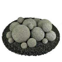 Ceramic Fire Balls | Mixed Set of 18 | Modern Accessory for Indoor and Outdoor Fire Pits or Fireplaces – Brushed Concrete Look | Charcoal Gray, Speckled