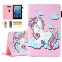 Dteck Case for All Kindle Fire HD 8 Tablet (8th Generation 2018 & 7th Generation 2017 & 6th Generation 2016) - Shockproof Smart Stand Pretty Flip Leather Case Cover with Auto Sleep Wake-Smile Unicorn