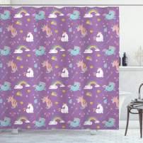 "Ambesonne Magic Shower Curtain, Unicorn and Rainbow Diamond Wand Pattern Nursery Baby Girl Creature Print, Cloth Fabric Bathroom Decor Set with Hooks, 84"" Long Extra, Violet"