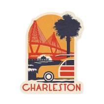 Lantern Press Charleston, South Carolina - Ravenel Bridge - Woodblock - Contour 94941 (Vinyl Die-Cut Sticker, Indoor/Outdoor, Small)
