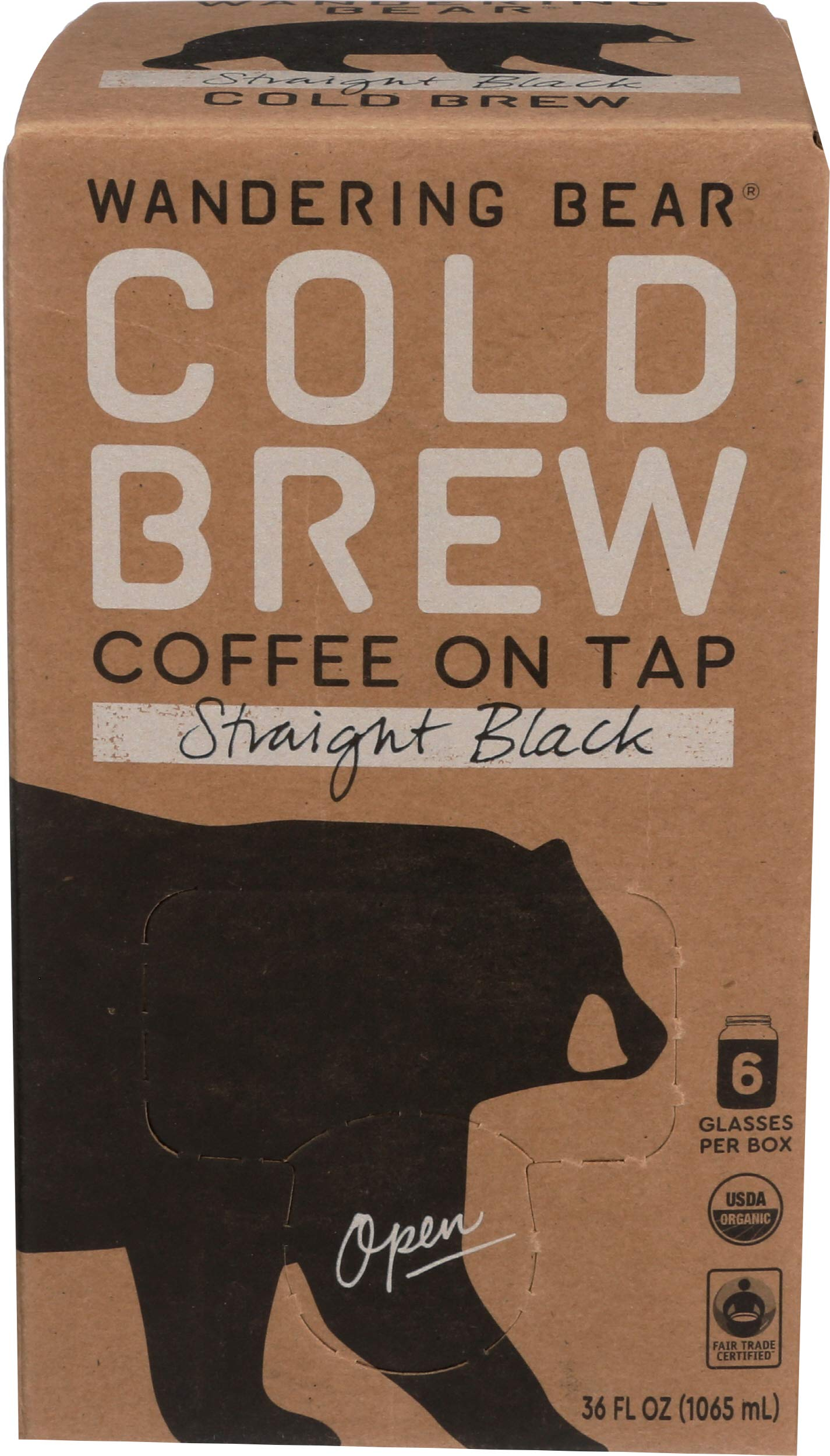 Wandering Bear Organic Cold Brew Coffee On Tap, Straight Black, No Sugar, Always Fresh and Ready to Drink, Not a Concentrate, 36 fl oz, Trial Size