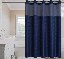 """Conbo Mio Hook Free Shower Curtain with Snap in Liner for Bathroom Waterproof Rust Proof with Flex On Rings (Check-Dark Blue, 71"""" x 74"""")"""