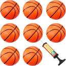 8 Pieces Mini Basketball Mini Hoop Basketballs Pool Basketball Toys with Inflation Pump for Beach Pool Sports Game Party Supplies (Orange, 4 Inch)