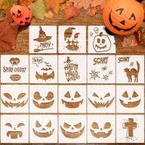 Whaline 18 Pcs Halloween Plastic Painting Stencils, Reusable Pumpkin Expression Templates for DIY Card, Craft Art Drawing Painting Spraying, Window, Glass, Wood, Airbrush and Walls Art