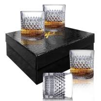 Msaaex Whiskey Glasses Old Fashioned Whiskey Glass Barware For Scotch, Bourbon, Liquor and Cocktail Drinking Best Gift for Men - 4 Set