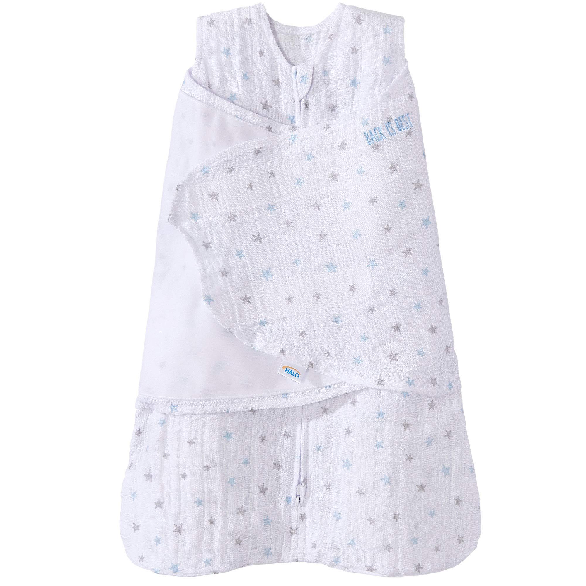 Halo 100% Cotton Muslin Sleepsack Swaddle Wearable Blanket, Blue Stars, Small